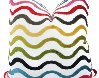 Jonathan Adler Decorative Pillow Cover Multicolor Wavy Lines, Accent Pillow, Throw Pillow, Pillow, Pillow Cover, Adler pillow Stripe pillow