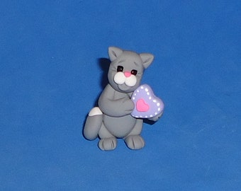 Polymer Clay Gray and White Cat with Valentine Heart