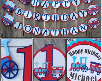 Choo Choo Train Red and Blue Birthday Party Package, Train Birthday Party Banner