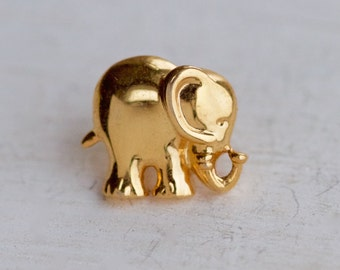 Golden Elephant Pin or Badge - Tiny Elephant Brooch