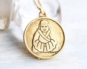 Buddha Medal Necklace - Golden Medallion on Chain - Charmazing