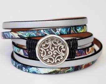Marbleized Leather Wrap Bracelet, Whirly Wrap, silver Leather, wrap bracelet, antique etched medallion, woven linen, secure magnet