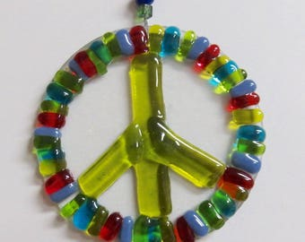 Green Peace Glass Sign