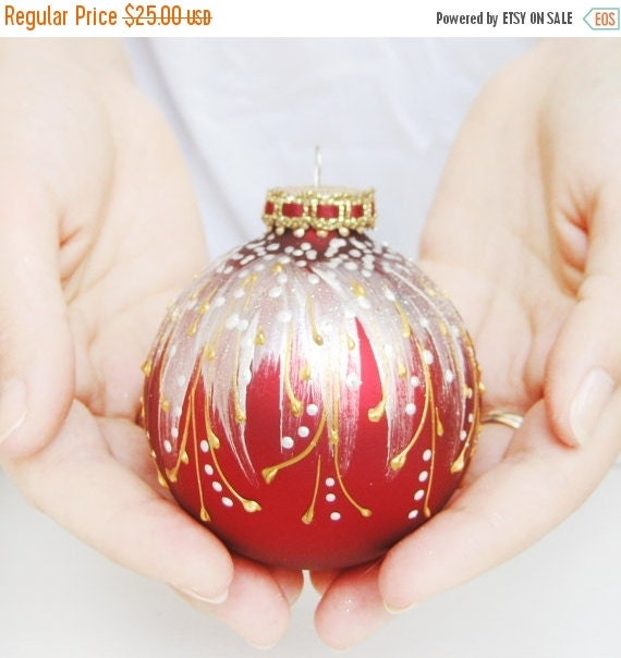 SALE Christmas Ornament Glass Ball Red By SilverOwlStudio