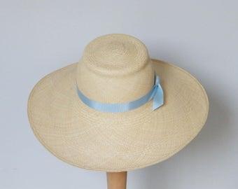 Panama sun hat / long brim summer hat for women / sun protection hat / Audrey Hepburn hat made in Israel