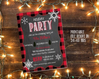 Printable Christmas Party invitation / plaid Christmas invite / holiday open house invite / holiday party invite /  office party invitation