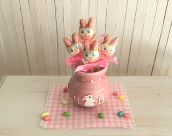 Miniature Easter Bunny Cookies On A Stick In A Pink Ceramic Pot