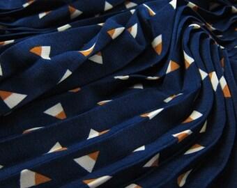 "59""width 5 patterns triangle blue beige bohemia  pleated folded chiffon fabric by yard"