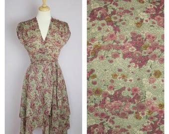 Vintage 1970's Floral Ruffle Wrap Dress M