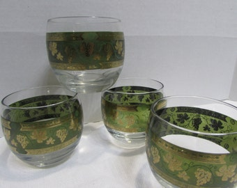 Cera Golden Grapes Roly Poly Glassware - Green and Gold Grape Pattern - Cera Green and Gold - Roly Poly Glassware