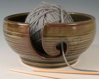Yarn / Knitting Bowl - Olive Green glaze with carved surface Stoneware by Seiz Pottery