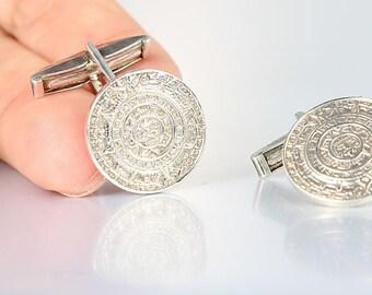Aztec Calendar Sterling Cufflinks, Mayan Sun calendar, 1960s Mexican silver Vintage jewelry