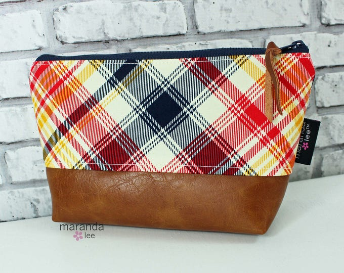 AVA Small Clutch - Plaid PU Leather  READY to SHIp Cosmetic Toiletries bag Travel Make Up Zipper Pouch