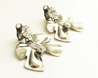 Large Vintage Couture Sharra Pagano Rhinestone Bow Dangle Earrings clip on Runway Jewelry