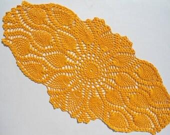 """Oval crochet doily, orange crochet doily, pineapple crochet doily, oval lace doily,orange doilies, 23"""" x  12"""""""