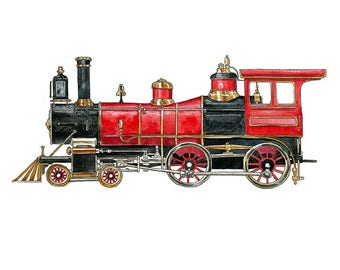 Red Steam Engine Locomotive watercolor print, 8x10""