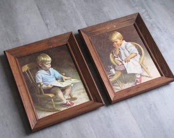 Vintage Set of Little Boy and Little Girl Wall Art in frames - Gretchen and Gary