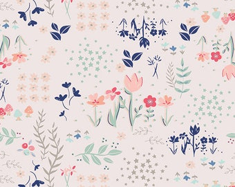Baby Girl Changing Pad Cover, Girl Navy and Coral Nursery Bedding, Floral Baby Bedding, Baby Girl Nursery, Pink Coral Navy, Library Gardens