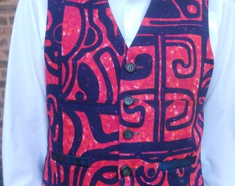 Red with navy print  vest, red/navy men's vest, 4 pockets vest, size XL mens vest, ready to ship
