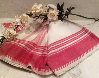 Antique Hand Woven  Red and Ivory Fabric, Vintage Fabric, Vintage Dish Towels, vintage Red and White Fabric, Vintage Woven Fabric
