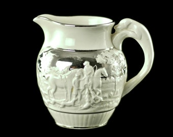 Vintage Wedgwood Silver Lustre Hunt Pattern Pitcher Made for Beeshy's China Shop of Ridgeway Ontario, Canada