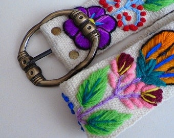 "Handmade Embroidered women's belt size 30"" to 38"" in white, organic fashion 2017"