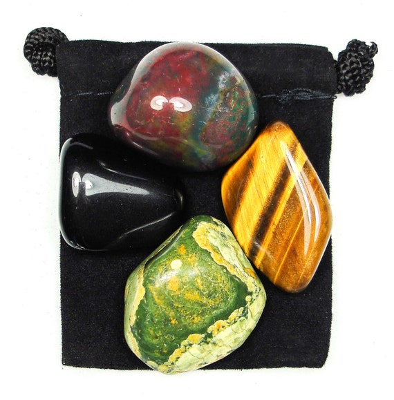 DEALING WITH CHANGE Tumbled Crystal Healing Set - 4 Gemstones w/Description & Pouch - Bloodstone, Obsidian, Rhyolite, and Tiger's Eye