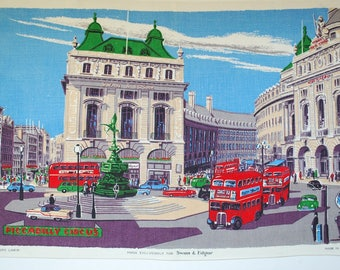 """Vintage Piccadilly Circus London - Irish Linen Hand Towel - Wall Hanging - Exclusively for Swan & Edgar - 1960's - 1970's - 31"""" x 21"""" Size"""