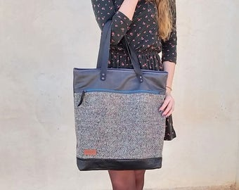 Tote bag - Grey waxed canvas shopper