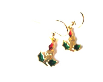 Earrings Candlestick Holly Gold Plate Dangle