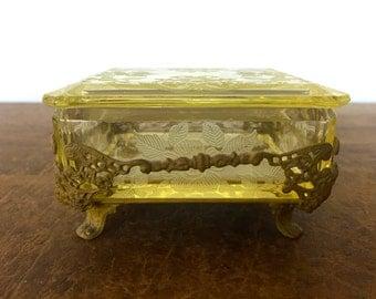 Vintage Beveled Glass Vanity Trinket Box