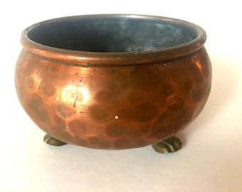 Vintage Coper Footed Planter.
