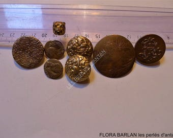 8 antique buttons metal