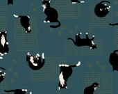 Neko III - Black Cats Teal with Metallic Accents from Quilt Gate