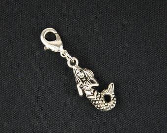 Mermmaid Charm Zipper Pull pendant Bracelet Wristlet Miniblings sea silver