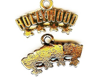 HOLLYWOOD SIGN Charm. Gold Finish Pewter Word Charm. One Sided. Hollywood Hills. Made in the USA.