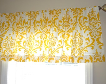 SALE Curtain Valance Topper Window Treatment 52x15 Yellow & White Damask Valance