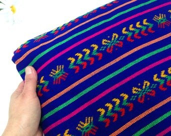 Royal Blue Mexican Fabric, Three Yard, Tribal, Cambaya,  Aztec Material by the Yard, Fiesta Frida Decor, Cinco de Mayo, DIY Rebozo