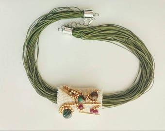 Multi strand amethyst  Statement Fiber Necklace, greenery Minimalist Jewelry Twisted gemstones green choker, gold beadwork modern necklace