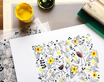 Flowers and Birds's pattern - screen print
