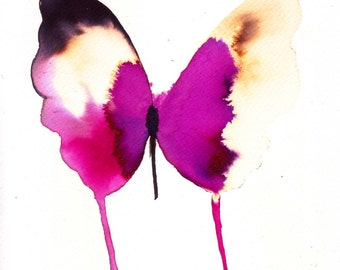 """magenta and white gold two tone butterfly 8 X 10"""" original watercolour painting"""