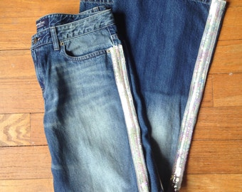Vintage 90s flare jeans with sequins down sidea