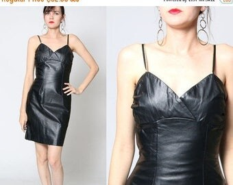 ON SALE Vintage 90s NOS Fitted Black Leather Dress / Small