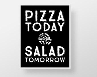 Pizza Print, Pizza Poster, Pizza Quote, Pizza Saying, Funny Pizza, Funny Kitchen Print, Typography, Kitchen Art, Black Kitchen, Custom Color