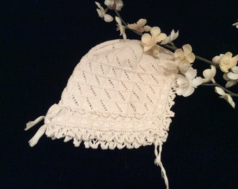 Vintage Hand Cotton Crocheted and Knit  Baby Bonnet  Hat , Vintage Doll Hat, Vintage Crochet