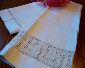 Antique Linen Towel Greek Key Crochet Trim Show Towel Guest Towel