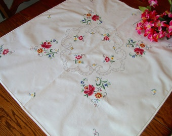 Linen Embroidered Tablecloth Vintage Table Cover Roses Antique Table Linens