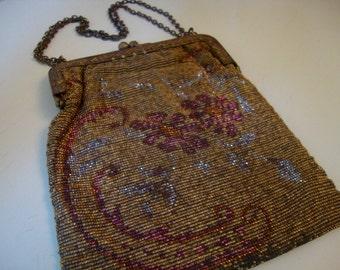 Antique French Purse Steel Cut Micro Bead Handbag Beaded Purse Vintage Steel Evening Bag