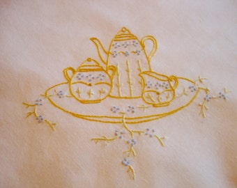 Embroidered Tea Cloth Vintage Tablecloth Tea Pot and Cups Table Linens