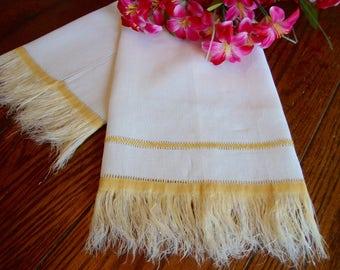 Linen Show Towel Gold Fringe Ivory Vintage Guest Towel Kitchen Towel
